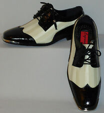 Mens Superbly Elegant Black & White Satin Fancy Dress Shoes Expressions 6345
