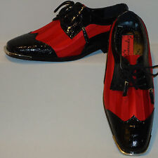 Mens Super Cool Red Satin Black Croc-Look Silvertip Dress Shoes Expressions 6345