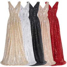 Formal Long Sequin Dress Prom Evening Party Pageant Bridesmaid Wedding Gown PROM