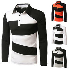Stylish Men's Casual Slim Fit Casual Long Sleeve Turn Down Collar Polo T-Shirt