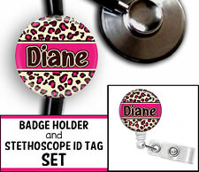 LEOPARD PRINT PERSONALIZED STETHOSCOPE ID TAG & RETRACTABLE BADGE SET