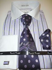 Mens Purple Lavender Striped Dress Shirt White French Cuff & Collar Karl Knox