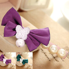 Korean Style Hairpins Girls Pearl Bowknot Design Hair Clips Satin Hair Pins