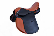 "SYNTHETIC LEATHER ALL PURPOSE HORSE SADDLE TWO TONE SIZE 14"" SEAT WIDE FIT"