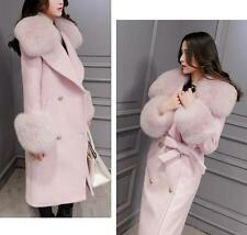New Women's Woolen Faux Fur Collar Belted Double Breasted Long Coat Pink Black