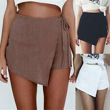 Womens Ladies Wrap Mini Skort Skirt Skorts Irregular Ladies Short Culottes Dress