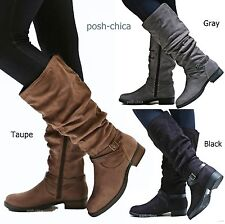 New Women SDL Black Gray Taupe Slouchy Buckle Riding Knee High Boots 5.5 to 11