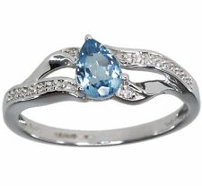 Blue Topaz Pear Gemstone Diamond 14k White Gold Ring