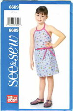 See & Sew 6689 Easy Girls Top & Skirt Sewing Pattern Uncut