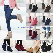 Fashion Womens Winter Faux Suede Fur Lined Lace-up Ankle Snow Boots Martin Shoes