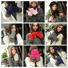 Fashion Women's Winter Warm Knit Gloves Warmer Mittens Finger Gloves