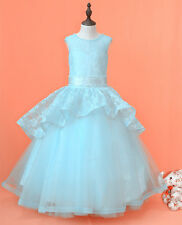 Flower Girl Dress Wedding Communion Prom Pageant Party Birthday yellow 2-14 new
