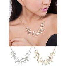 Crystal Rhinestone Snowflake Statement Choker Necklace- Gold-Silver Plated FN-04
