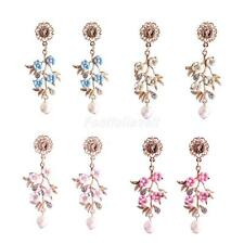 Fashion Lady Women Elegant Rhinestone Long Drop Ear Dangle Earrings Jewelry
