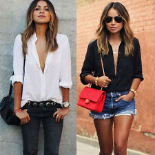 Women Sexy Chiffon Long Sleeve Blouse Large Size Tee Shirts Casual V Neck Tops A