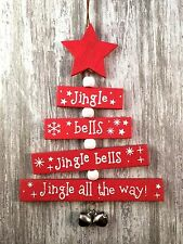 Sass & Belle Rustic Wooden Christmas Wishes Tree Hanging Decorations