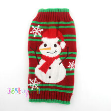 Striped Snowman Ugly Christmas Sweater Coat for Small Pet Dog Xmas Sweater