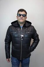 Black Real Lambskin Leather Puffer Padded Hood Jacket Coat Bomber Biker XS-8XL
