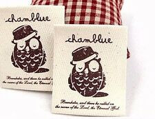 1 x Owl wearing a hat Label / 5cm x 6cm Cotton Label / Sew on craft Label (La315