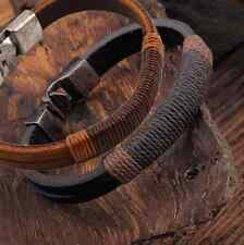 Fashion Surfer Mens Hemp Wrap Leather Wristband Bracelet Cuff Black Brown one