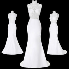 WHITE Evening Bridal Wedding Dress Long Prom Ball Gown Bridesmaid Party Dresses