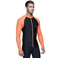 Men Skin Long Sleeve Rash Guard Surf T-Shirt Tops UV Protection Rashguard