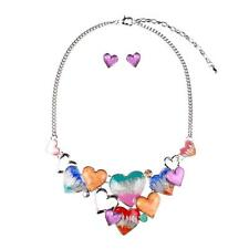 Fashion Heart Resin Statement Necklace Chunky Collar Bib Earring Jewelry Set