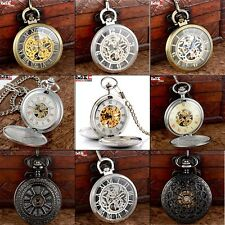 Vintage Full Hunter Windup Antique Mechanical Pocket Watch Fob Chain Punk Gift