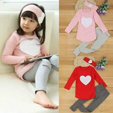 3PCs Kid Baby Girls Loving Heart Shirt Top+Pants+Headbans Set Clothes Outfits