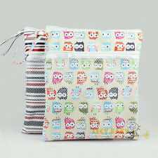 double pocket Washable Reusable Waterproof cloth Wet Dry baby diaper nappy bag