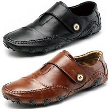 Mens leather slip on laofers flats Casual classic office work boat Driving shoes