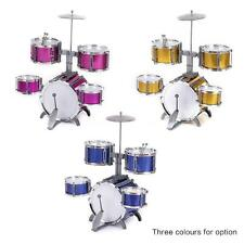 Compact Size Drum Set Children 5 Drums with Cymbal Stool Drum Sticks Pink Z5O1