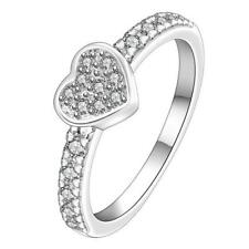 Wedding Bridal Silver Plated Crystal Rhinestone Love Heart Finger Ring Lady Gift