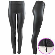 NEW LADIES WET LOOK SKINNY HIGH WAISTED LEGGINGS WOMENS FAUX LEATHER ZIP TROUSER