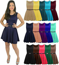Christmas Womens Ladies Belted Sleeveless Franki Flared Party Skater Top Dress