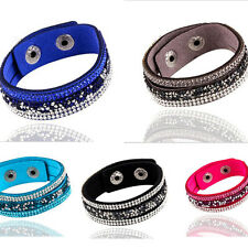 Charming Crystal Rhinestone Bracelet Leather Wrap Wristband Cuff Bangle Jewelry