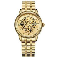 ROSDN Mens Automatic Watch Sapphire Mirror Skeleton Gold Steel Wristwatch V2K9