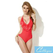 Colloyes Sexy One-piece Swimwear Tassels Fringe & Side Cut-outs Adjustable Ties