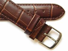 Dark brown alligator print quality Swiss leather watch band