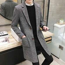 Men's Winter Jacket Wool Blend Slim Fit Stylish long Trench Coat Overcoat New YT