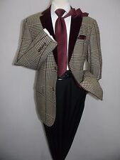 Mens INSERCH Blazer Classic English Plaid velvet trims 517,49 black Burgundy New