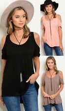 I Ma Belle Cold Off Shoulder Tank Top Cut Out T-Shirt Open Back Tunic TIT51291