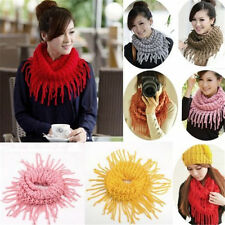 Winter Women Cool Warm Infinity 2 Circle Cable Knit Cowl Neck Long Scarf Shawl
