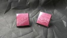 Beautiful Unusual Rare Vintage 1950s Sterling Silver & Rhodochrosite Cuff Links