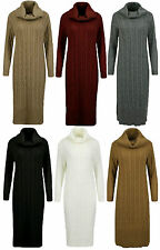 Womens Polo Cowl Neck Cable Knit Long Sleeve Midi Jumper Top Ladies Dress