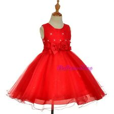 Red Ryinestones Lace Wedding Flower Girl Occasion Xmas Party Dress Sz 2T-8 FG315