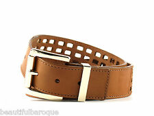 Michael Kors Luggage Brown Genuine Leather Perforated Belt 551421 NWT Size L
