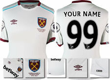 16/17 UMBRO WEST HAM UNITED AWAY SHIRT SS + PATCHES YOUR NAME YOUR NUMBER 99
