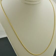 10K YELLOW GOLD 1.0MM BONE SHAPE BAR PENDANT NECKLACE CHAIN