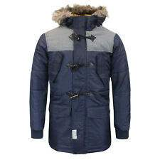 Mens Winter Coat by D-Struct 'Axwell' Padded Fur Hood Warm Jacket Sizes S - XL